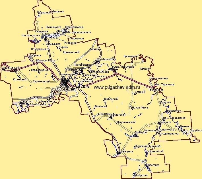 Карта Пугачёвского районаКарта Пугачёвского района